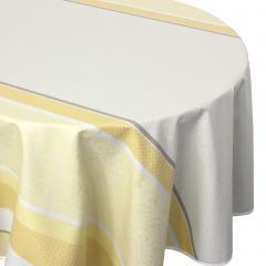 Nappe ovale 170x300 cm Jacquard 100% coton + enduction acrylique EDEN SOLEIL Jaune