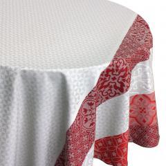 Nappe ovale 170x300 cm Jacquard 100% coton + enduction acrylique MOSAIC RUBIS Rouge
