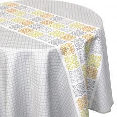 Nappe ovale 180x240 cm imprimée 100% polyester CARO géométrique gris