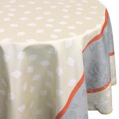 Nappe ovale 180x240 cm imprimée 100% polyester GARRIGUE Florale ecru