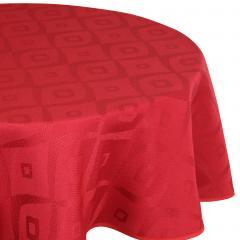 Nappe ovale 180x300 cm Jacquard 100% polyester BRUNCH rouge