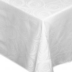 Nappe rectangle 150x250 cm Jacquard 100% coton SPIRALE blanc