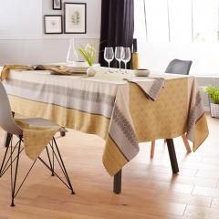 Nappe rectangle 150x300 cm Jacquard 100% coton + enduction acrylique CHARLESTON jaune Moutarde