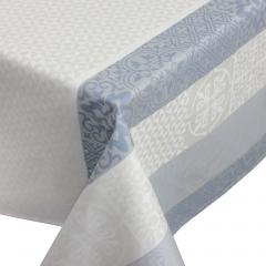 Nappe rectangle 150x300 cm Jacquard 100% coton + enduction acrylique MOSAIC PERLE Gris