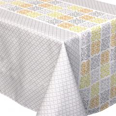 Nappe rectangle 150x350 cm imprimée 100% polyester CARO géométrique gris