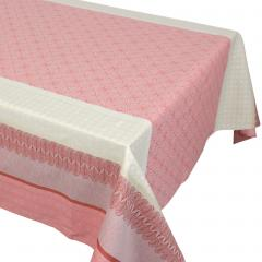 Nappe rectangle 150x350 cm Jacquard 100% coton + enduction acrylique CHARLESTON rouge Corail