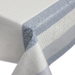 Nappe rectangle 150x350 cm Jacquard 100% coton + enduction acrylique MOSAIC PERLE Gris