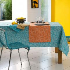 Nappe rectangle 150x350 cm Jacquard 100% coton SPIRALE orange papaye