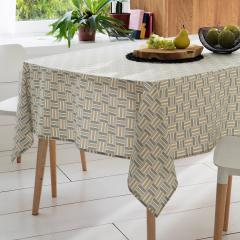 Nappe rectangle 160x200 cm GRAPHIC beige 100% coton + enduction acrylique