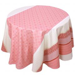 Nappe ronde 170 cm Jacquard 100% coton + enduction acrylique CHARLESTON rouge Corail