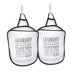Lot de 2 paniers à linge filet à suspendre Laundry Dirty Clothes Blanc et Noir