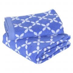 Parure de bain 2 pièces SHIBORI floral Bleu 100% coton 500 g/m2