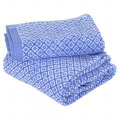 Parure de bain 2 pièces SHIBORI mosaic Bleu 100% coton 500 g/m2