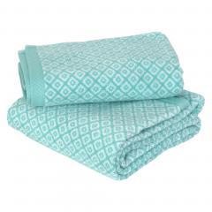 Parure de bain 2 pièces SHIBORI mosaic Vert 100% coton 500 g/m2