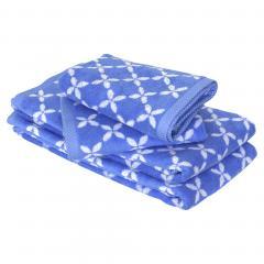 Parure de bain 4 pièces douche SHIBORI floral Bleu 100% coton 500 g/m2