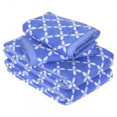 Parure de bain 4 pièces SHIBORI floral Bleu 100% coton 500 g/m2