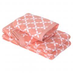 Parure de bain 4 pièces douche SHIBORI floral Orange 100% coton 500 g/m2