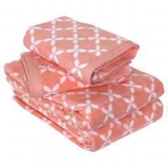 Parure de bain 4 pièces SHIBORI floral Orange 100% coton 500 g/m2