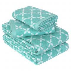 Parure de bain 4 pièces SHIBORI floral Vert 100% coton 500 g/m2