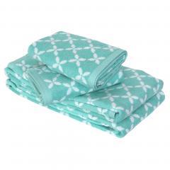 Parure de bain 4 pièces douche SHIBORI floral Vert 100% coton 500 g/m2