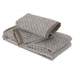 Parure de bain 4 pièces douche SHIBORI mosaic Beige 100% coton 500 g/m2