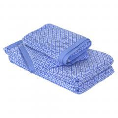 Parure de bain 4 pièces douche SHIBORI mosaic Bleu 100% coton 500 g/m2