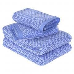 Parure de bain 4 pièces SHIBORI mosaic Bleu 100% coton 500 g/m2