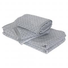Parure de bain 4 pièces douche SHIBORI mosaic Gris 100% coton 500 g/m2