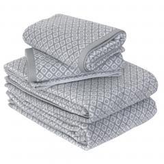 Parure de bain 4 pièces SHIBORI mosaic Gris 100% coton 500 g/m2