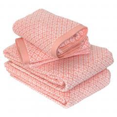 Parure de bain 4 pièces SHIBORI mosaic Orange 100% coton 500 g/m2