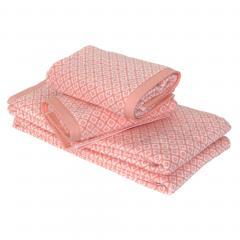 Parure de bain 4 pièces douche SHIBORI mosaic Orange 100% coton 500 g/m2
