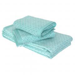 Parure de bain 4 pièces douche SHIBORI mosaic Vert 100% coton 500 g/m2