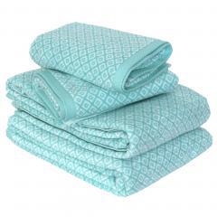 Parure de bain 4 pièces SHIBORI mosaic Vert 100% coton 500 g/m2