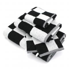 Parure de bain 5 pièces MONA carreaux blanc & noir 100% coton 480 g/m2