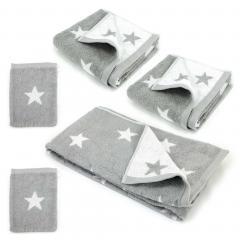 Parure de bain 5 pièces 100% coton 480 g/m2 STARS Gris