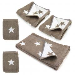 Parure de bain 5 pièces 100% coton 480 g/m2 STARS Marron
