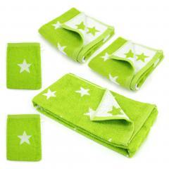 Parure de bain 5 pièces 100% coton 480 g/m2 STARS Vert