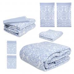 Parure de bain 7 pièces BOLERO FLORAL Bleu 520 g/m2