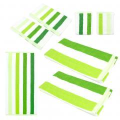 Parure de bain 7 pièces CLASSIC STRIPES Vert 480 g/m2