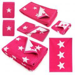 Parure de bain 7 pièces 100% coton 480 g/m2 STARS Rose