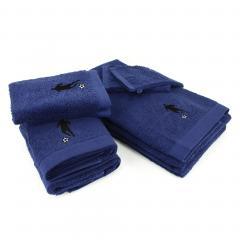 Parure de bain 8 pièces 100% coton 550 g/m2 PURE FOOTBALL Bleu Marine