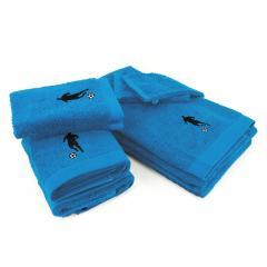 Parure de bain 8 pièces 100% coton 550 g/m2 PURE FOOTBALL Bleu Turquoise