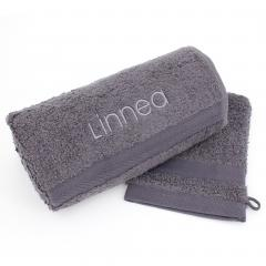 Lot ROYAL CRESENT Serviette brodée Linnea 50x100 + gant assorti gris Acier