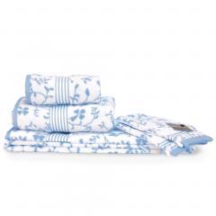 Parure de bain 5 pièces VINTAGE FLORAL Bleu 550 g/m2