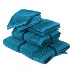 Parure de bain 6 pièces JULIET Bleu Baltic 520 g/m2