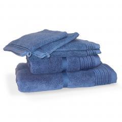 Parure de bain 6 pièces JULIET Bleu Ciel 520 g/m2