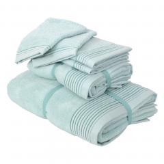 Parure de bain 6 pièces JULIET Bleu pâle 520 g/m2