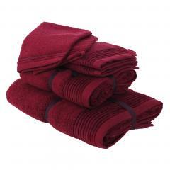 Parure de bain 6 pièces JULIET Rouge bordeaux 520 g/m2