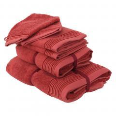 Parure de bain 6 pièces JULIET Rouge Terracota 520 g/m2