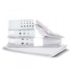 Parure de bain 6 pièces PURE SQUARES Blanc 550 g/m2